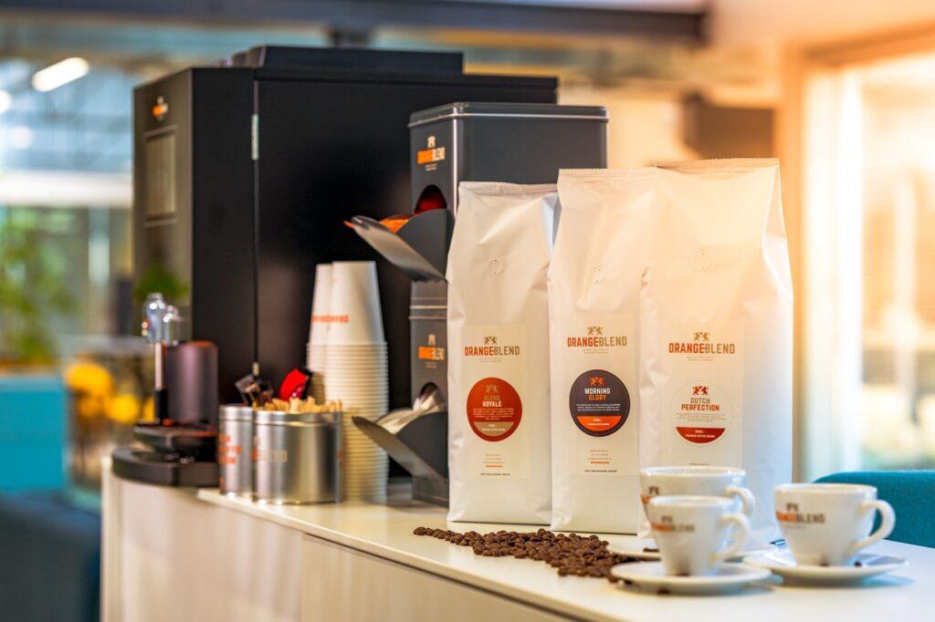 Orange Blend koffie op het werk